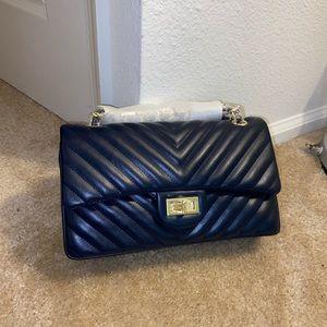 Crossbody chevron double flap bag